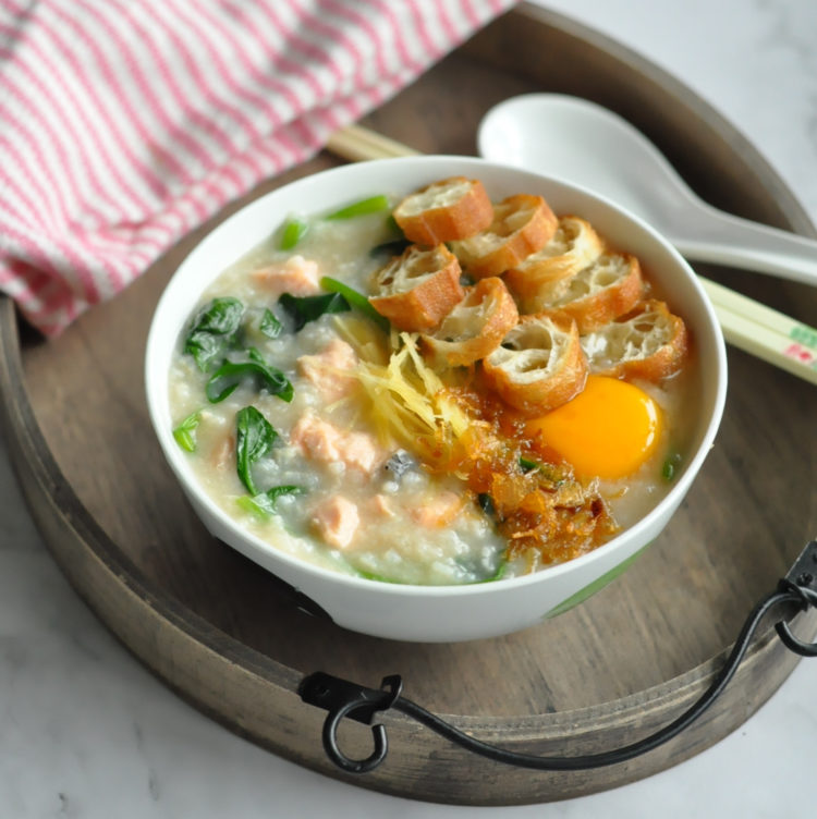 Salmon Spinach Congee