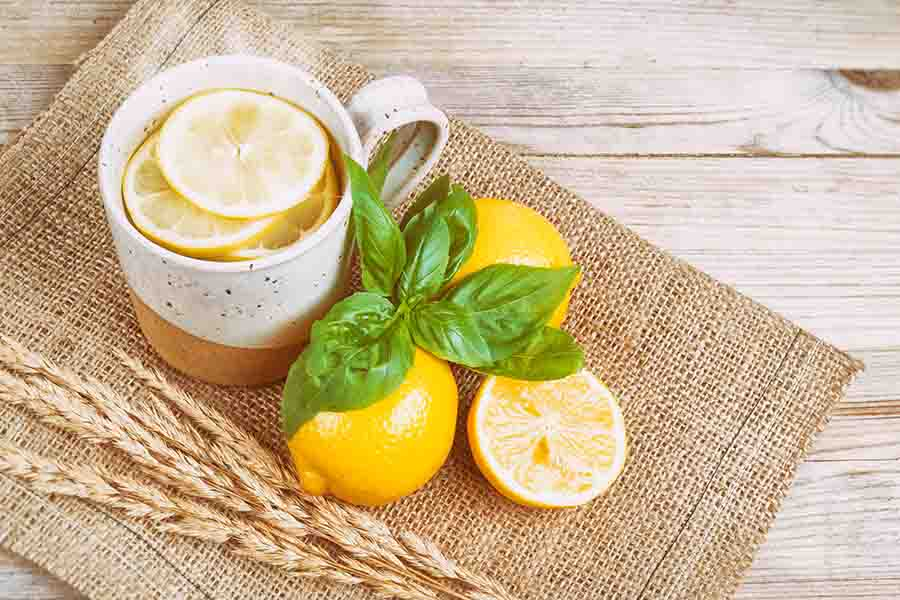bigstock Hot Water With Lemon And Basil 146282390