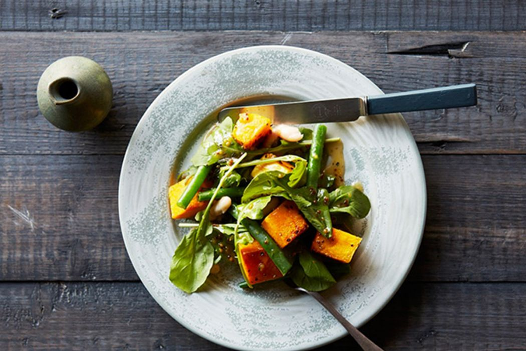 Roast Pumpkin, Bean and Rocket Salad