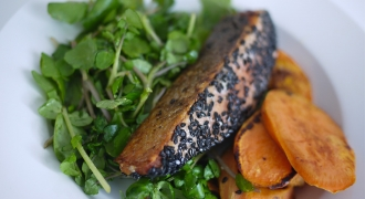 Sesame Crusted Salmon With Sweet Potato & Orange Dressed Salad