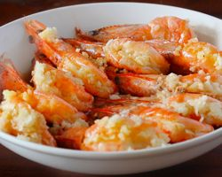 Steamed Garlic Prawns