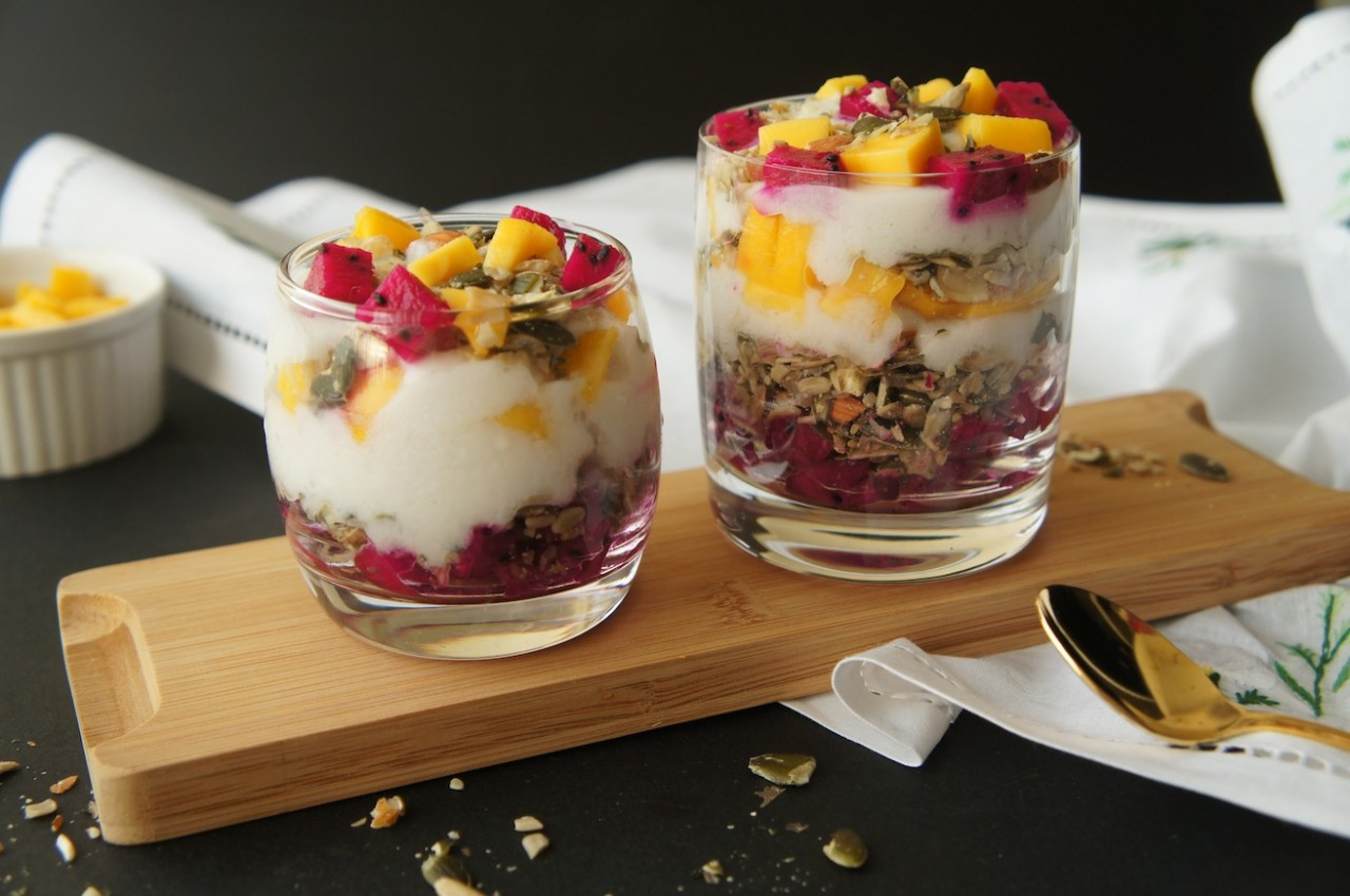 Raw With Chef Yin - Coconut Yoghurt Parfait With Mango & Dragonfruit