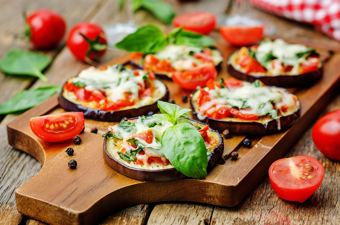 Roasted Eggplant 'Pizza' with BBQ Chicken
