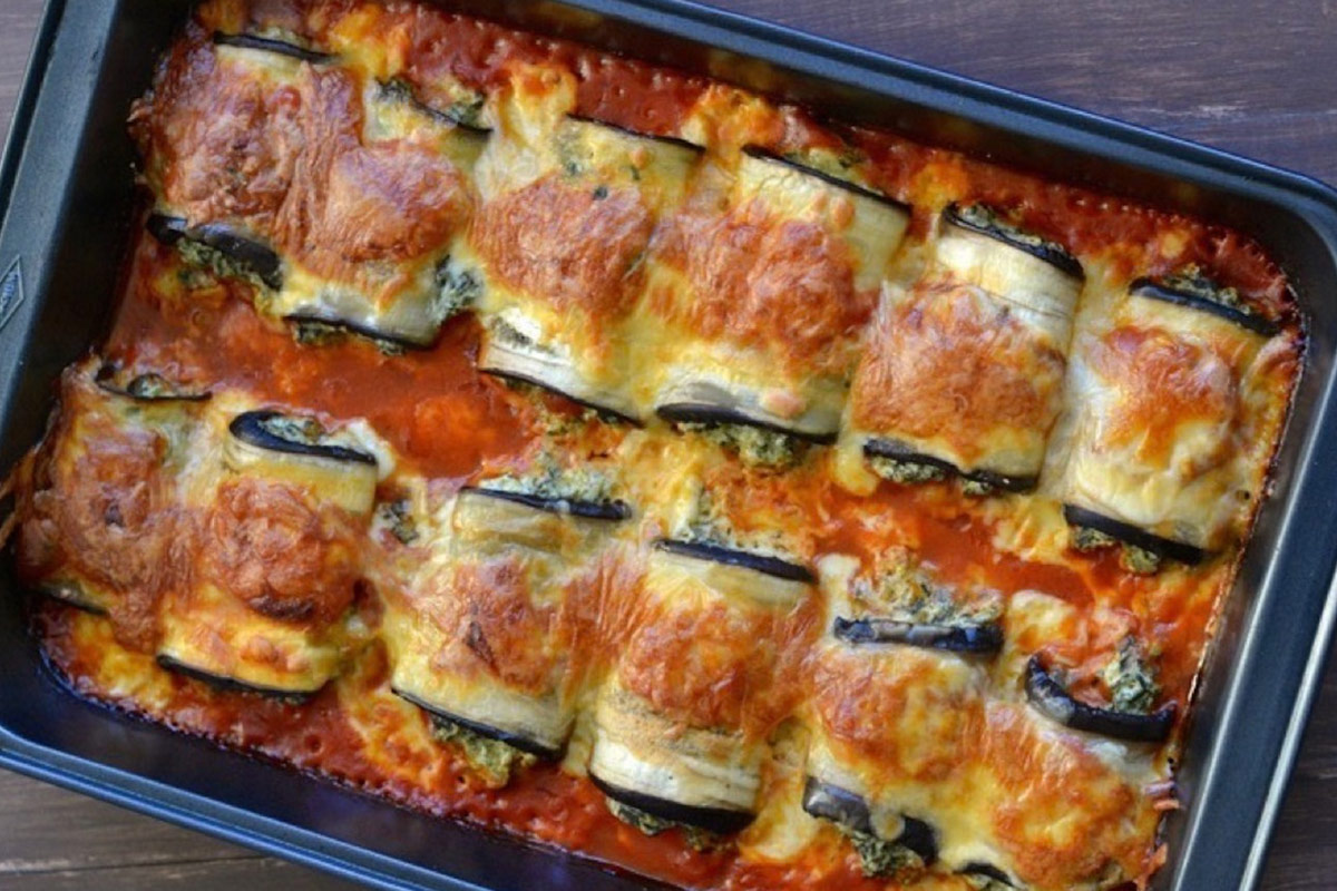 Eggplant Roulade Stuffed With Baby Spinach